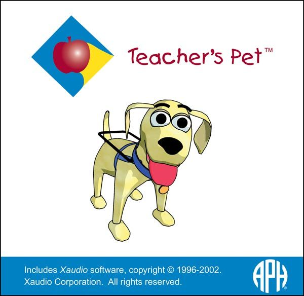 D-03460-00 Teachers Pet:  I have provided teachers and parents instruction in the use of Teacher's Pet.  This program provides the ability to create tests, drills and a variety of educational materials in auditory and large print format for the low vision and blind student. Great for addressing specialized student curriculum material needs.
