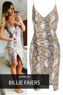 Celebrity Asymetric Snakeskin Bodycon Dress