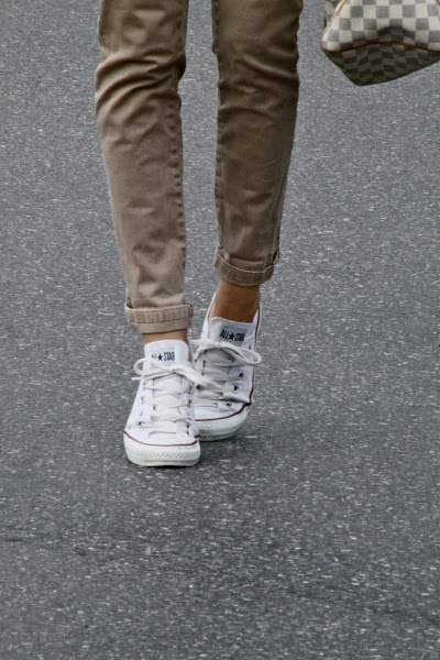 White chucks and khaki || miss my converse so much! I'm so getting one soon.