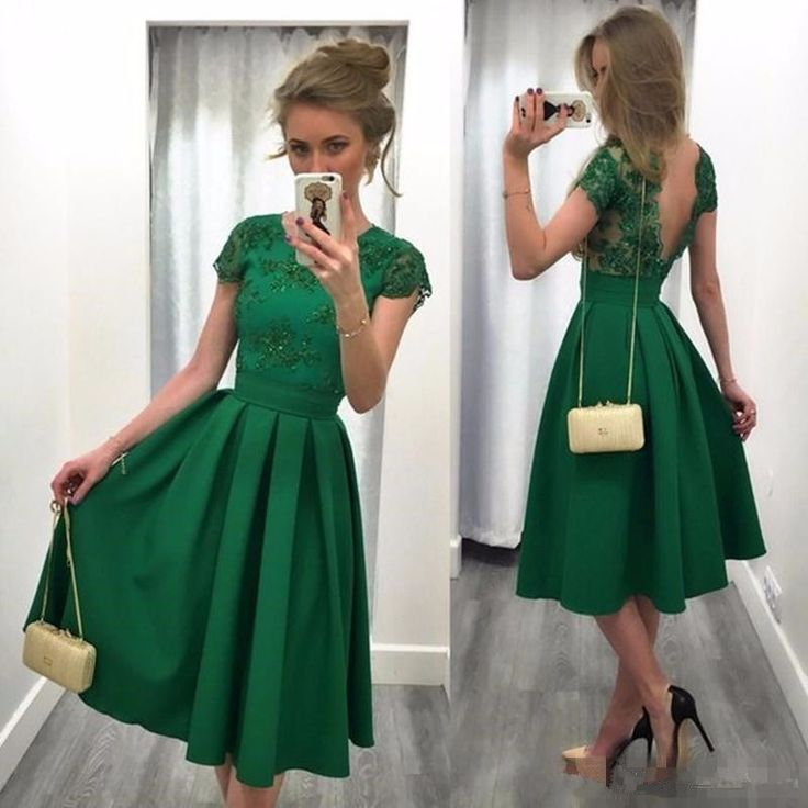 2017 Green A Line bridesmaid Dresses Short Sleeve Jewel Neck Sexy Backless wedding party Gowns Ruffle Tea Length Robe De Soiree