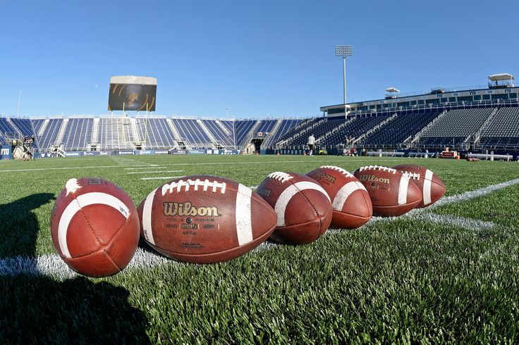 Footballs are lined up on the field prior to the game as the FIU Golden Panthers held their annual spring game on April 7, 2017, at Riccardo Silva Stadium in Miami, Florida. (Photo by Samuel Lewis/Icon Sportswire)
