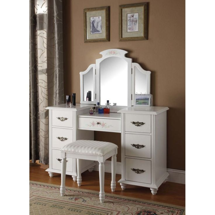 Acme Furniture Torian White Finish Vanity Set Vanities