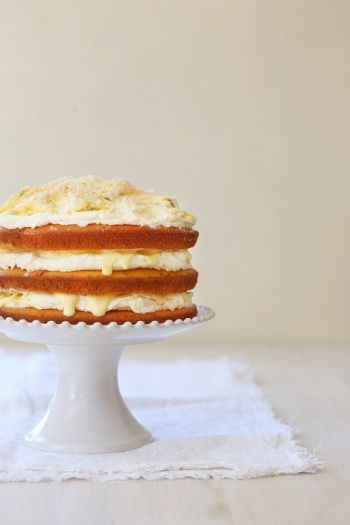 Layered Tropicana Cake with Passion Fruit Curd