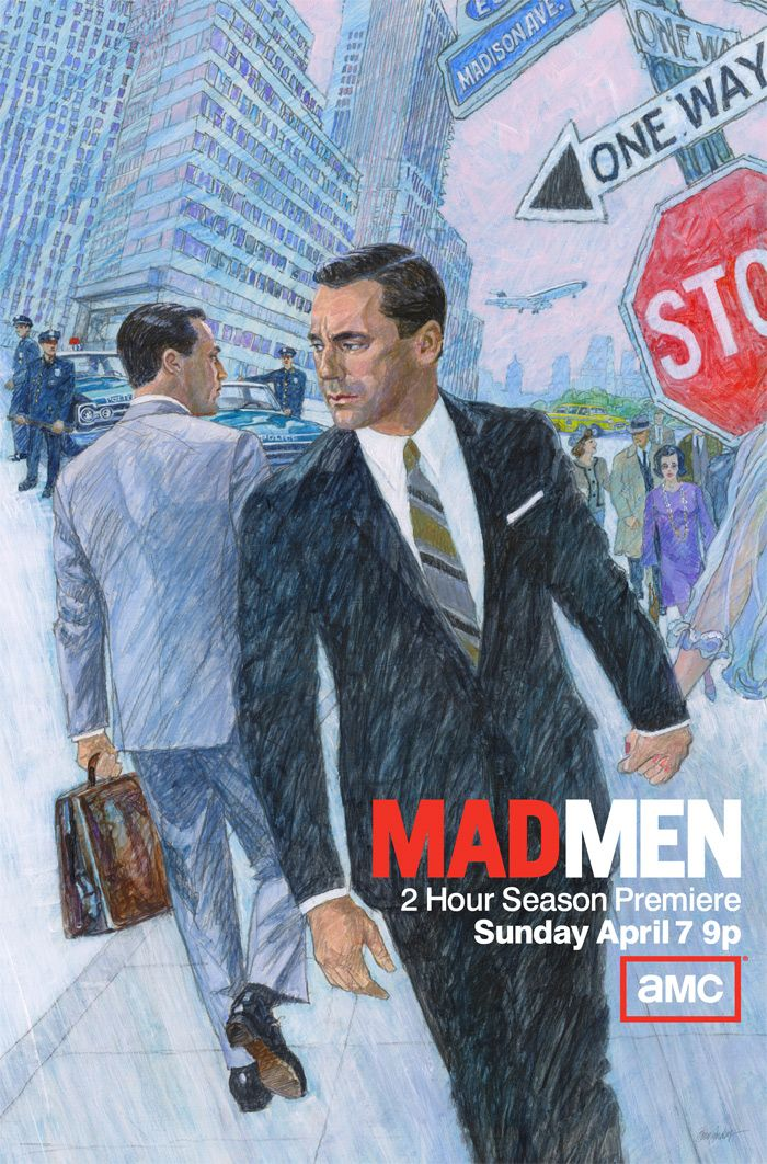 1960s Ad-Style 'Mad Men' Season 6 Illustrated Poster: Don Draper Passes Himself on Madison Ave. #madmen #tv #design