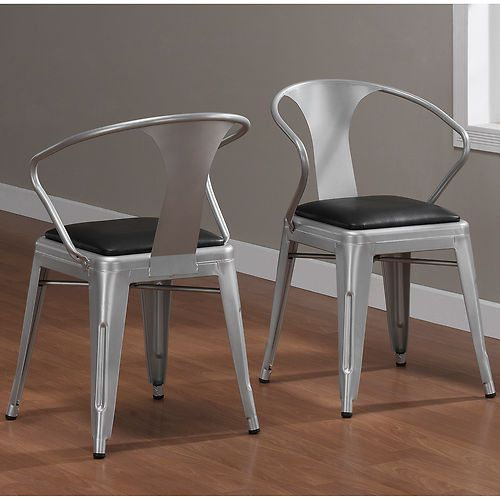 Industrial padded seat metal silver stackable dining for Kitchen set industrial