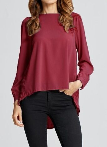 257799ee23c New Women Chiffon Blouse Pleated O-Neck Long Sleeve Asymmetric Loose Casual Solid  Plus Size