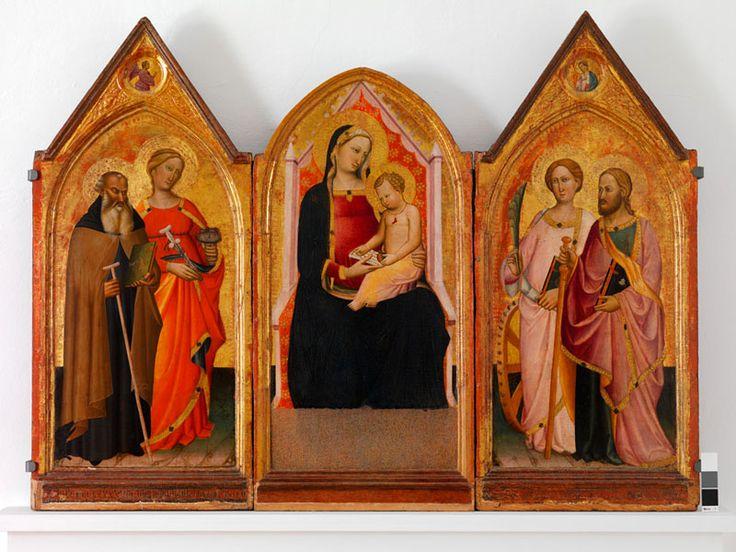 Maestro di San Jacopo a Mucciana, trittico con la Madonna col Bambino e i Santi Antonio Abate, Lucia, Caterina e Giacomo