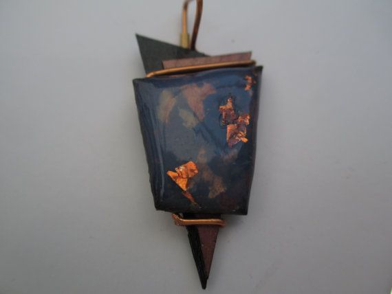 Lightweight Geometric Copper flecked pendant compliment by Lexana2, $30.00
