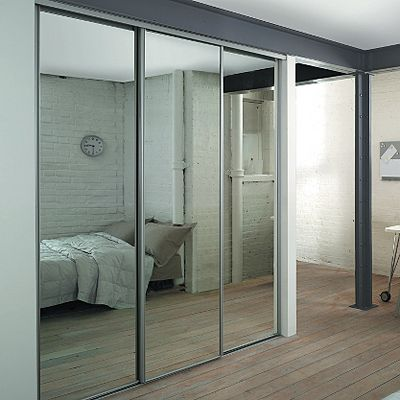 3 Silver Framed Mirror Sliding Wardrobe Doors and Track Kit Price: Was  £295.00 Now