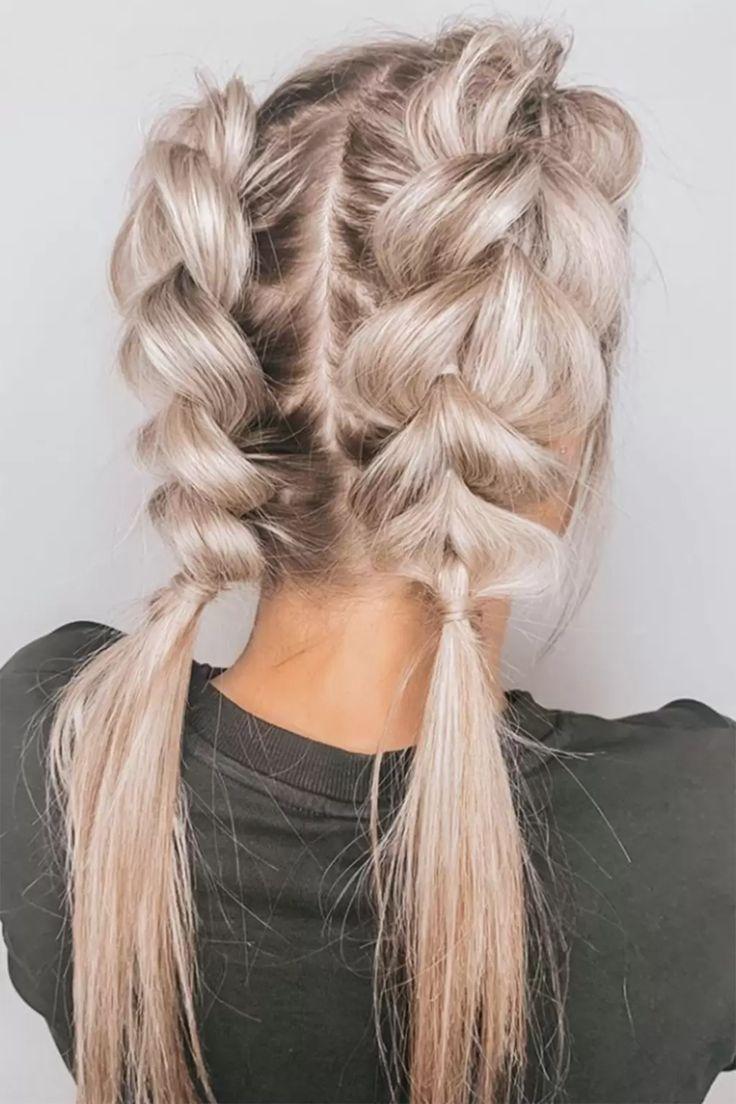 Hairstyles Pigtails In 2020 Medium Hair Braids Medium Hair Styles Pull Through Braid
