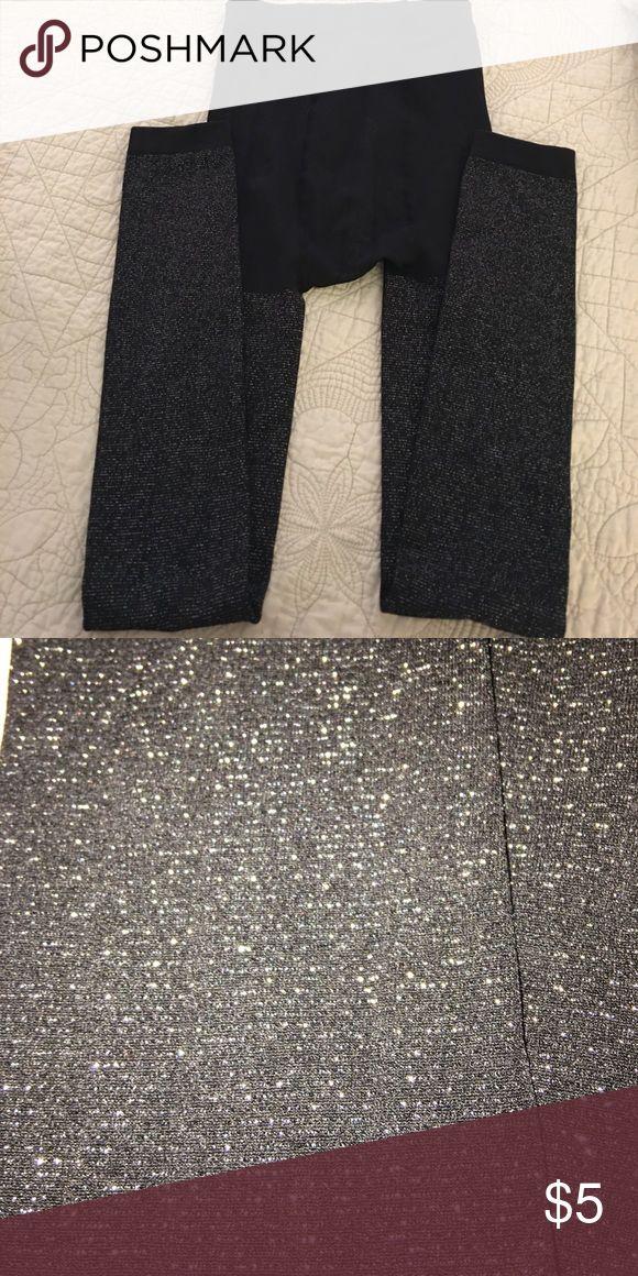 Footless tights - NEVER WORN! George black/silver footless tights L/XL, NWOT George Accessories Hosiery & Socks