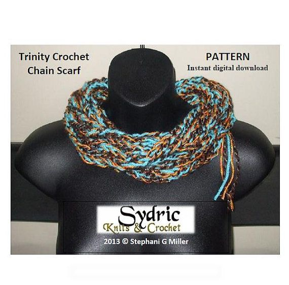 *Immediate Download* NOTE: This listing is for a PDF pattern, NOT the actual scarf.  TRINITY CROCHET CHAIN PATTERN: Is a method for creating the perfect chain design. It is a quick and easy pattern with texture and beauty