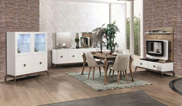 Allegro Mobilyanın farklı tarzının yansıtıldığı karem yemek odası simetri hastaları için ideal bir ürün ayrıca çokta kullanışlı olduğundan tercih sebebi oluyor genelde. Allegro Mobilya Karem Yemek Odası tv ünitesi arka panosu ve yemek masasu dışında tamamen beyaz bu iki kısımda meşe renginde tasarlanmış. Konsol , yemek masası , gümüşlük ve tv ünitesinden oluşan takımda kaliteli ahşaptan ayaklar kullanılmış. Çekmece ve kapaklarda yen nesil yavaslatıcılı aksesuarlar kullanılırken kulp olarakta…