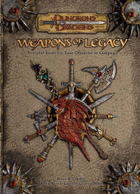 Weapons of Legacy (3.5)   Book cover and interior art for Dungeons and Dragons 3.0 and 3.5 - Dungeons & Dragons, D&D, DND, 3rd Edition, 3rd Ed., 3.0, 3.5, 3.x, 3E, d20, fantasy, Roleplaying Game, Role Playing Game, RPG, Open Game License, OGL, Wizards of the Coast, WotC, TSR Inc.   Create your own roleplaying game books w/ RPG Bard: www.rpgbard.com   Not Trusty Sword art: click artwork for source