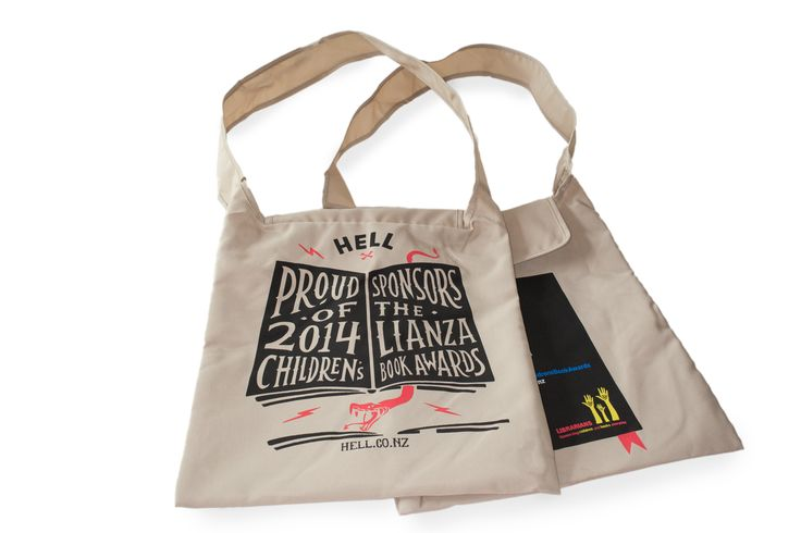 HELL Pizza sponsored the 2014 LIANZA Children's Book Awards. To mark the occasion they engaged with us to produce these book bags, made from recycled PET plastic.  These handy items were given to libraries around the country to be given to kids to carry their books.