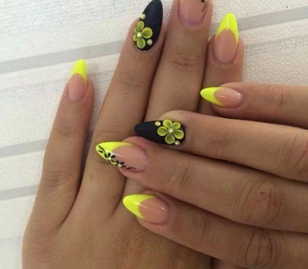 Schöne Farbe gelb nail art für 2019
