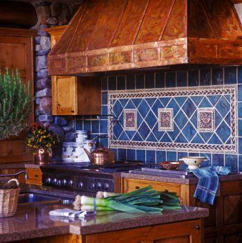 copper hood and tile backsplash: Copper Hoods, Beautiful Kitchens, Landscape Design, Blue Tile Backsplash, Tile Kitchens, Colors Combinations, Country Kitchens, Outdoor Kitchens Backsplash, Blue Tiles