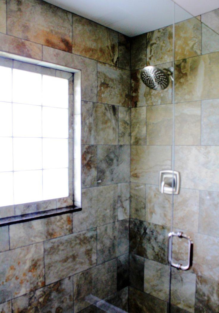 Shower tile detail frame less shower enclosure brushed - Bathroom remodel west palm beach ...