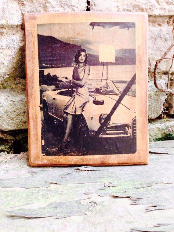 Alfa Romeo Giulia Giulietta Spider and Woman Wooden Picture Home Decor Wall Decor