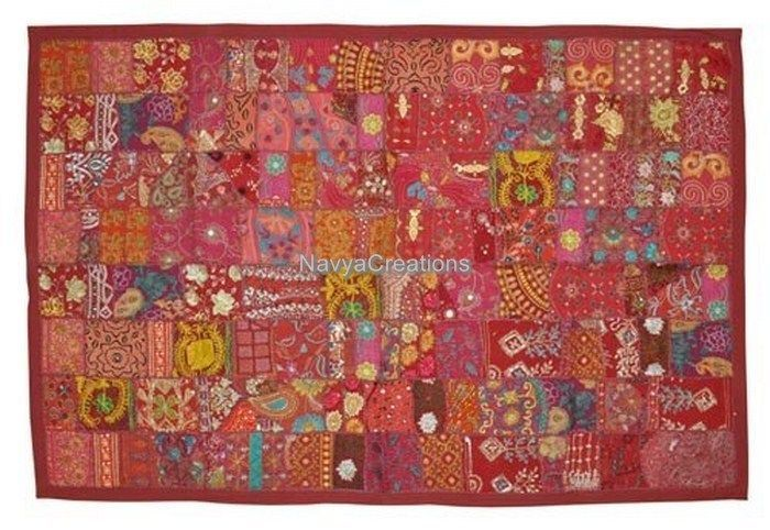 Ethnic Indian Hand Embroidered Cotton Patchwork Wall Hanging Decorative Tapestry #Handmade #Traditional