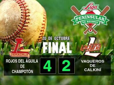 Calkiní, Campeche, 20 de octubre de 2016.- Los Rojos del Águila de Champotón(1-2) dejaron el sótano del recién iniciado calendario 2016 de...