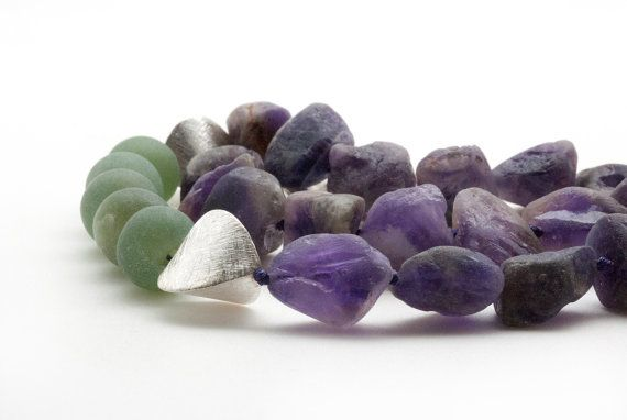 Raw Amethyst Necklace Raw Gemstone Bold Necklace by SunSanJewelry