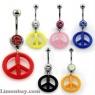 Piercing de ombligo con símbolo de la paz en varios colores