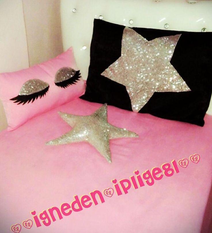 Tek kişilik yatak örtüsü,kirpikli yastık,yıldız yastık,50*70 aplikeli yastık