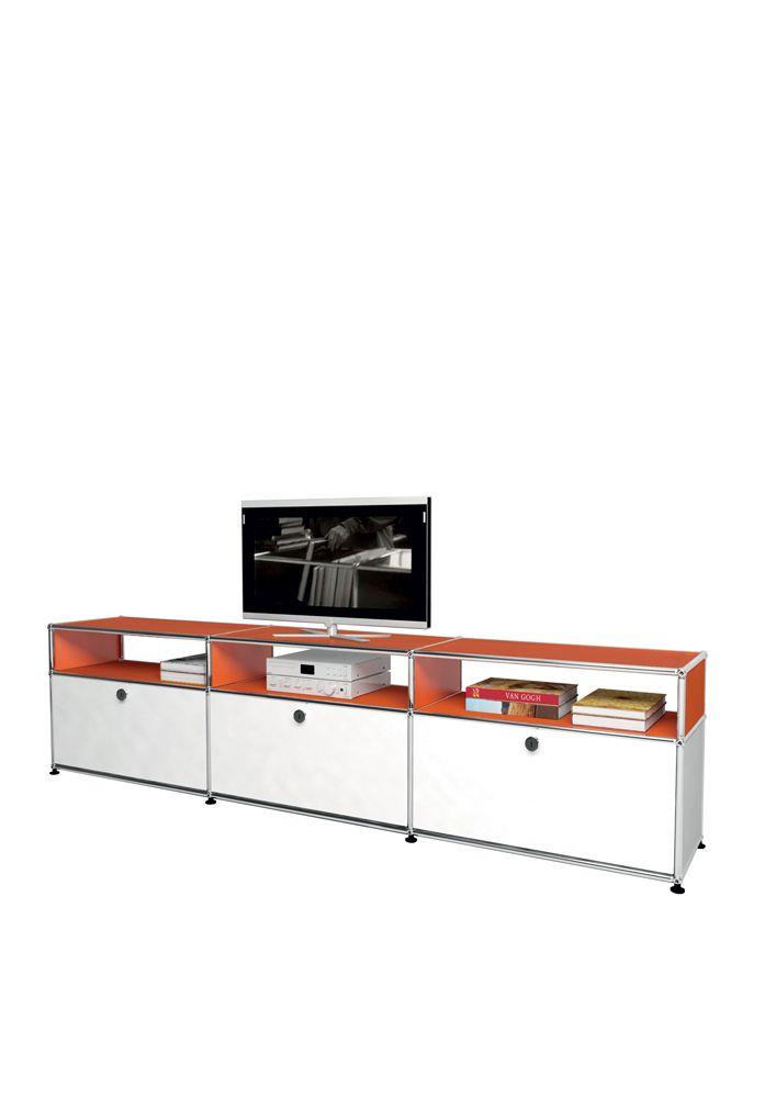 USM modular furniture media orange white meuble USM Haller TV orange blanc