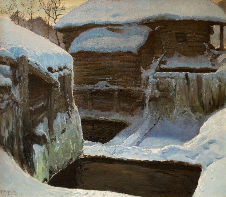 FERDYNAND RUSZCZYC (1870 - 1936)  MŁYN ZIMĄ, 1902   olej, płótno / 116 x 133 cm