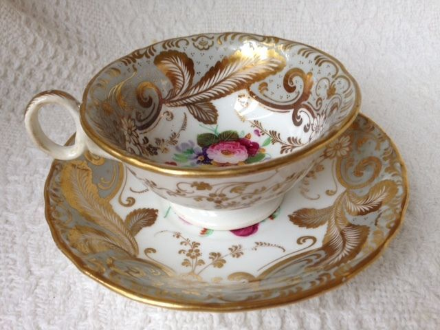 Staffordshire Tea Cup and Saucer c1830 Flower Painted