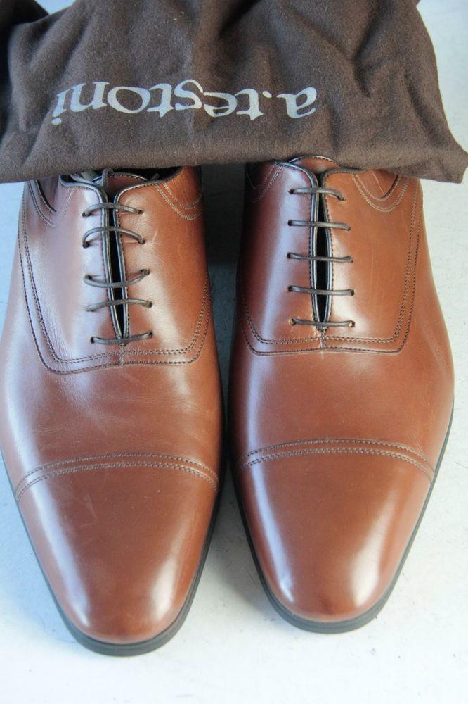 $395 NEW A TESTONI Tan Captoe Sz 10.5 M Oxford Men's Dress Shoes #ATestoni #