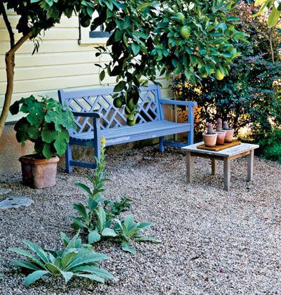 pea gravel garden// This is how my rock garden started, with a leftover pile of pea gravel.  Now I may get another small load , to expend the area. There are so many peaceful, pretty ideas for a zen garden. Love this bench.