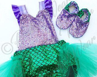 Disfraz de Sirenita, traje de Sirenita, traje de sirena, mameluco de la Sirenita, sirena kid traje, traje de bebé sirena, ariel