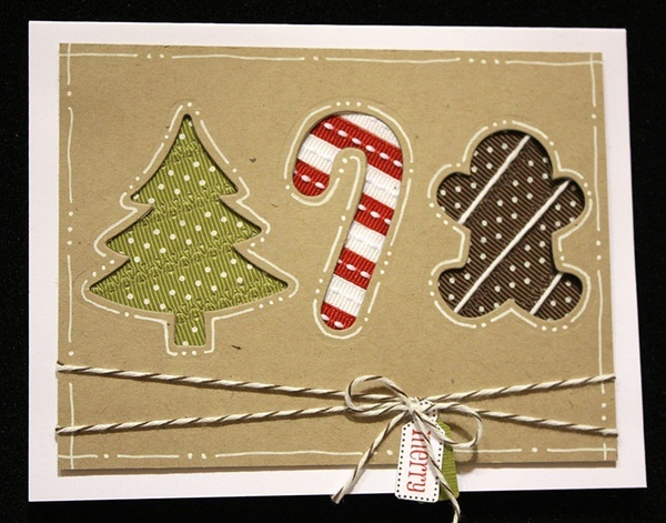 perfect ribbon use!Christmas Cards, Cards Ideas, Man Cards, Perfect Ribbons, Cute Ideas, Scentsational Seasons, Cut Out, Gingerbread Man, Xmas Cards