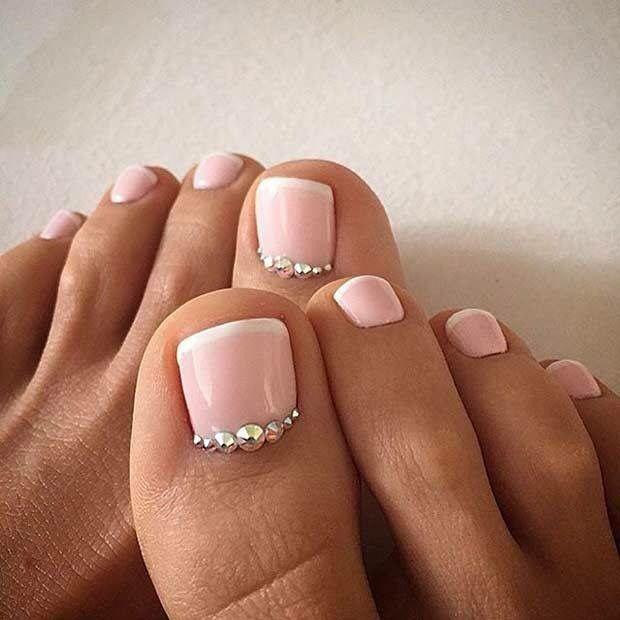 Nude French rhinestone nails