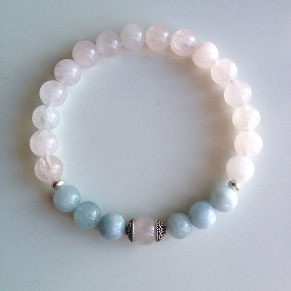 Astrology ~ Taurus Sign ~ Genuine Aquamarine & Rose Quartz Bracelet w/ Sterling Silver Caps and Spacers
