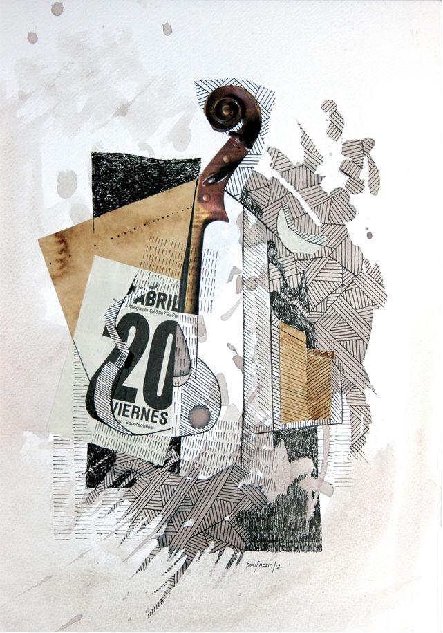 """""""Serenata en abril"""". Acuarela, vino y fibra sobre papel. 30 x 20 cm. 2012."""