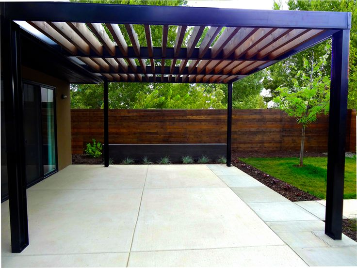 Steel header and joists for trellis google search awnings pinterest s - Pergola metal adossee ...