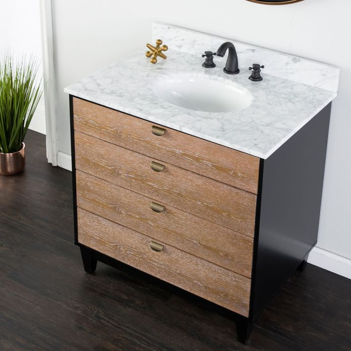 H M Tobin 22 Inch Single Vanity Sink With Grey Marble Top Bed