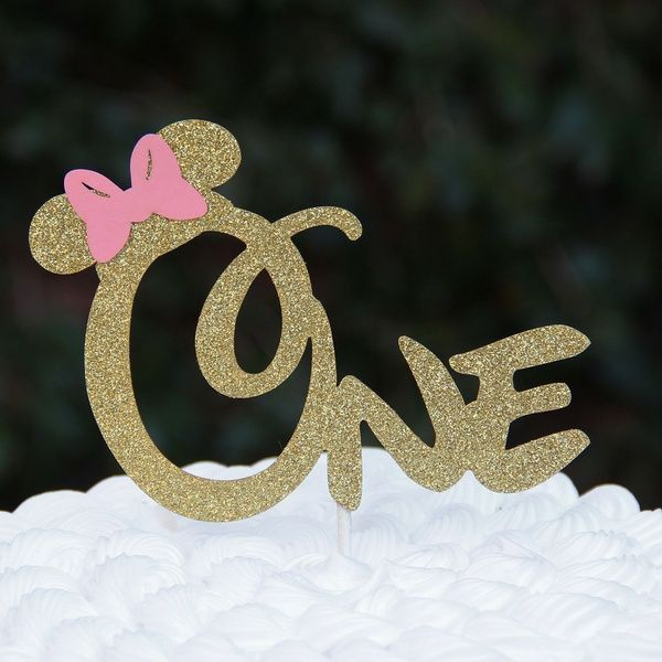 First 1st One Year Birthday Cake Topper Minnie Mouse Bow Cake...