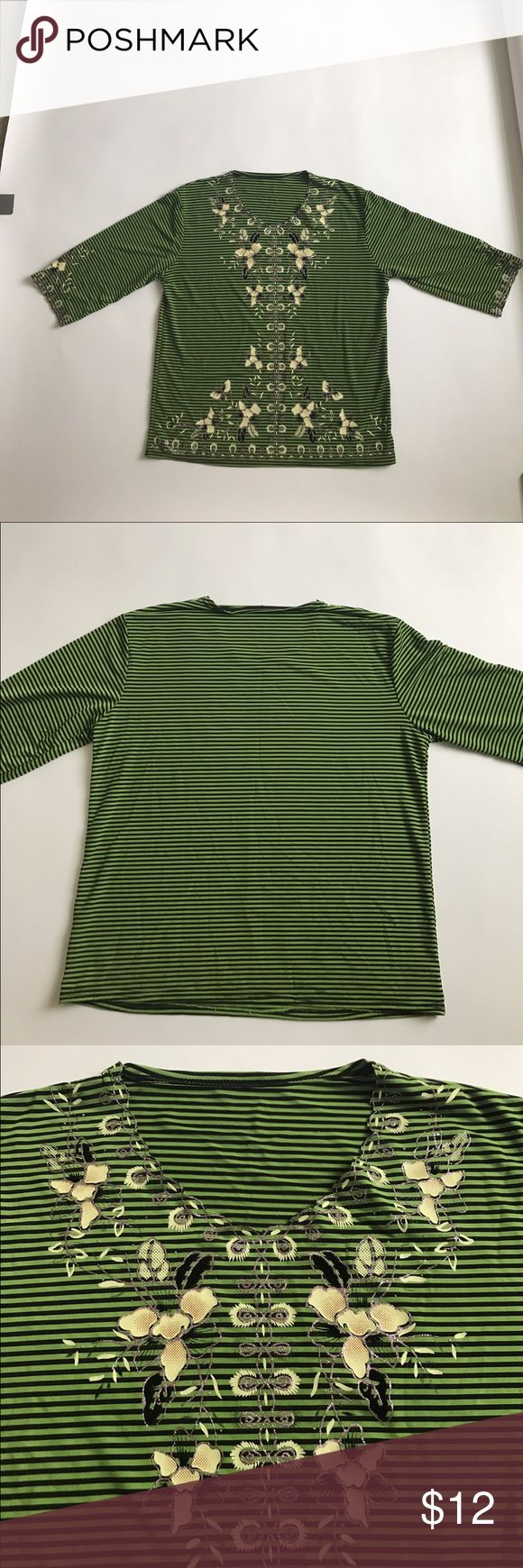 Stripped top with floral design Green long sleeve top with elegant floral designs. V-neck. Silk like material. In Good condition. No size tag but its women's M Tops Tees - Long Sleeve