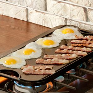 Lodge Cast Iron :  PRO-GRID IRON REVERSIBLE GRILL/GRIDDLE - one side is flat and one side has grill grids   20 x 10.5 //   $75