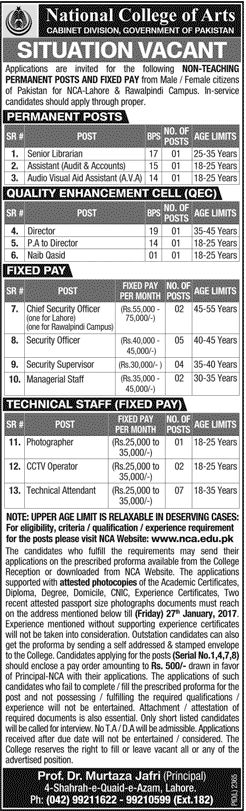 National College Of Arts Government Of Pakistan Jobs 13 january 2017