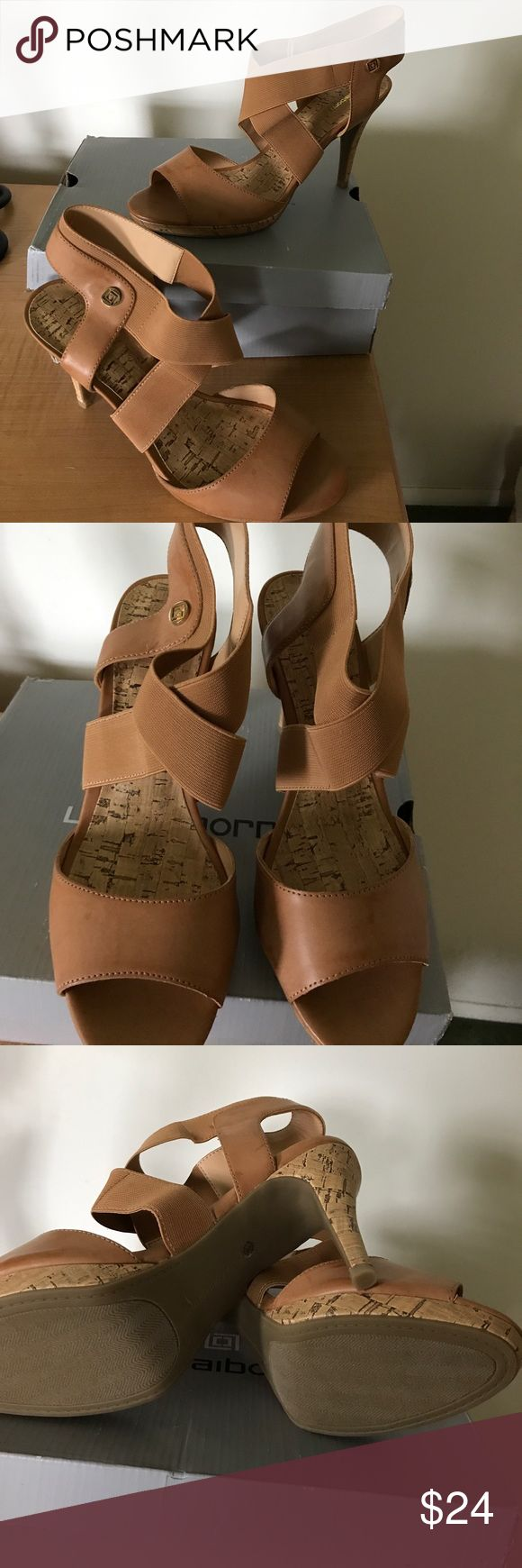 """Liz Claiborne Camel High Heels NIB sz9 Liz Claiborne""""LC Dapper"""" Camel colored high heels with faux cork foot bed and heel. Size 9 never used. Feel free to contact me with questions, will consider reasonable offers, no trades. PLEASE READ MY COMMENTS FOR DISCOUNT 😊 Liz Claiborne Shoes Heels"""