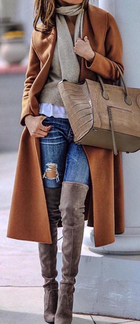 #winter #fashion /  Camel Coat + Beige Scarf + Destroyed Skinny Jeans + Brown OTK Boots