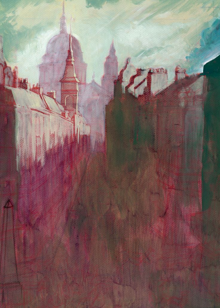 'Paisaje': Lápiz rojo y gouache sobre cartulina. 300€ David Belmonte ©