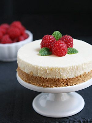 Just One Serving: NY Style Cheesecake  4-1/2-inch cheesecake  4 graham cracker squares or 1/3 cup graham cracker crumbs 3 tablespoons granulated sugar 1 tablespoon unsalted butter, melted 4 ounces (1/2 package) cream cheese, room temperature 1 1/2 tablespoons sour cream 1/4 teaspoon vanilla 3 tablespoons egg or egg substitute (1 large egg is 4 tablespoons)