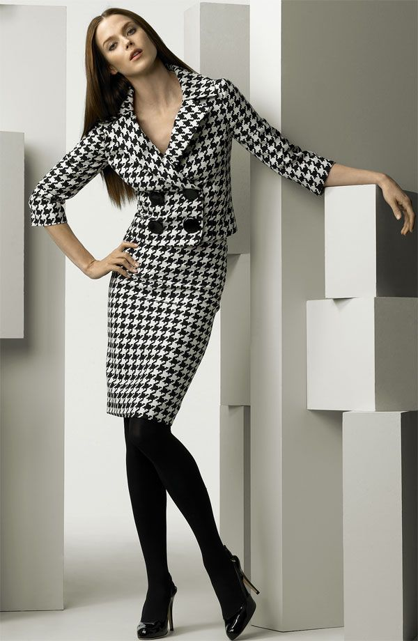 Houndstooth Skirt Suit Black Tights and Black High Heels
