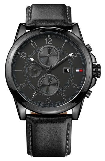 Tommy Hilfiger Multi Eye Leather Strap Watch